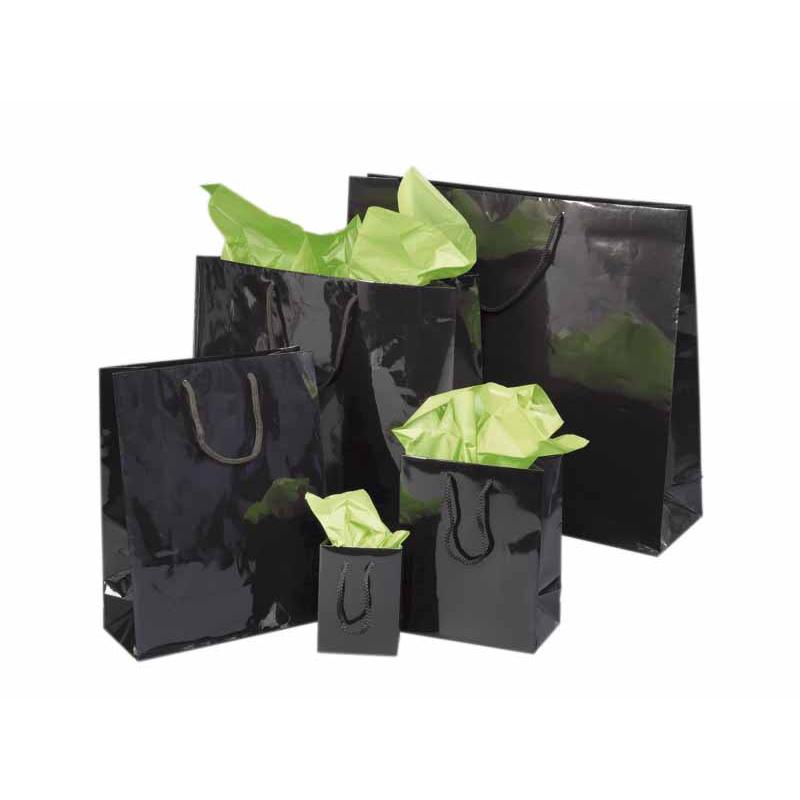 sacs en papier noirs pellicul s brillant comptoir de l 39 emballage. Black Bedroom Furniture Sets. Home Design Ideas