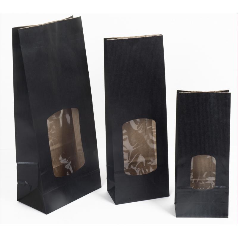 pochettes kraft noires fen tre le comptoir de l emballage. Black Bedroom Furniture Sets. Home Design Ideas