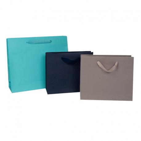 Sacs en papier mat de couleur poignées en ruban