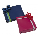 Papier cadeau kraft recyclé bleu et rouge
