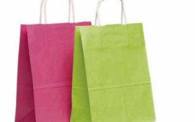 sac en papier vert et rose